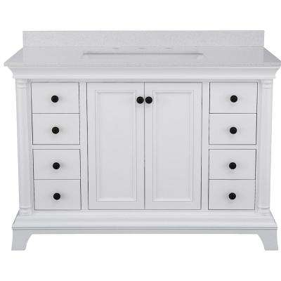Strousse 49 in. W x 22 in. D Vanity Cabinet in White with Engineered Stone Vanity Top in Ice Diamond with White Sink