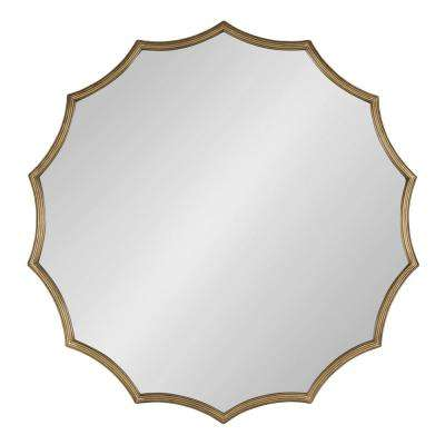 Lalina 34 in. x 34 in. Modern Glam Round Gold Wall Mirror