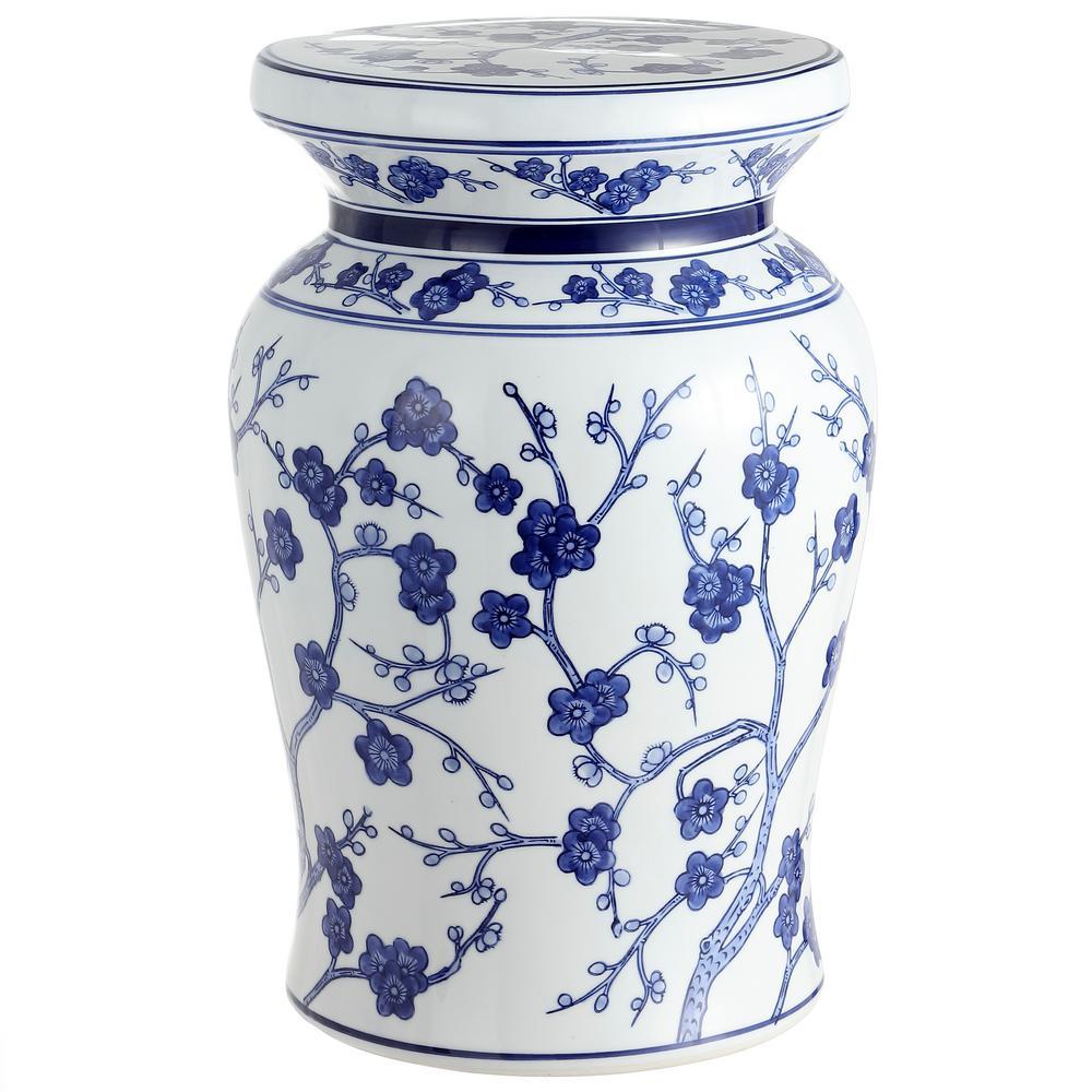 Cherry Blossom 17.7 in. White/Blue Ceramic Garden Stool
