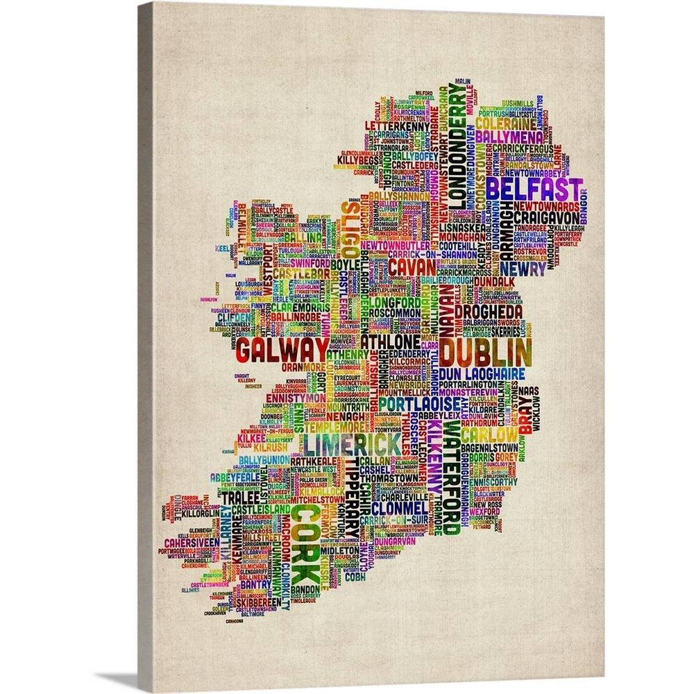 Greatbigcanvas Irish Cities Text Map Multicolor On Parchment By