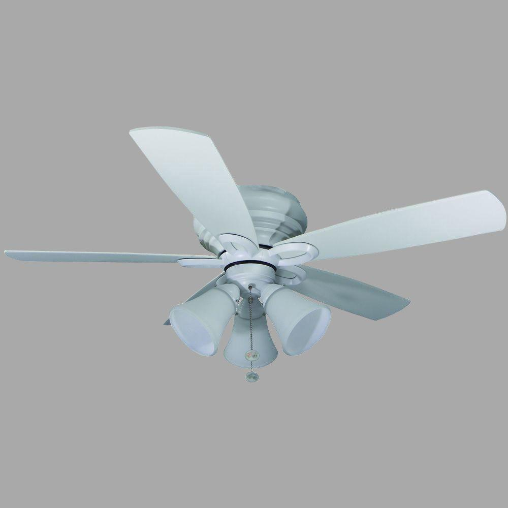 Hampton Bay Andross 48 In Indoor White Ceiling Fan With Light Kit 14929 The Home Depot