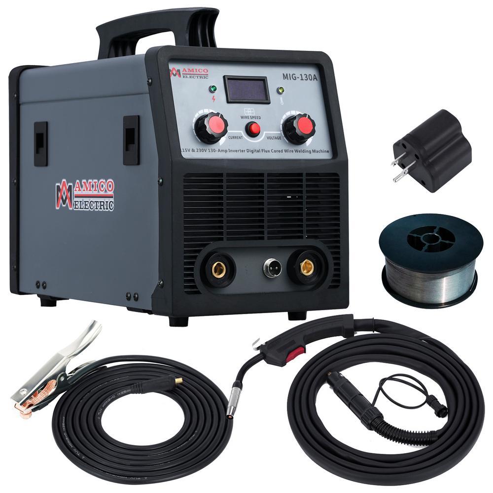 AMICO POWER 130 Amp MIG Wire Feeder Flux Cored Wire Gasless Welder, 115 Volt. and 230 Volt. IGBT Inverter Welding, 80% Duty Cycle