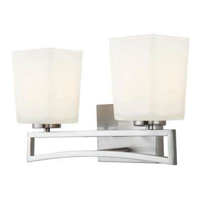 Alexa 2-Light Brushed Nickel Bath Light with Flat Opal Glass Shades