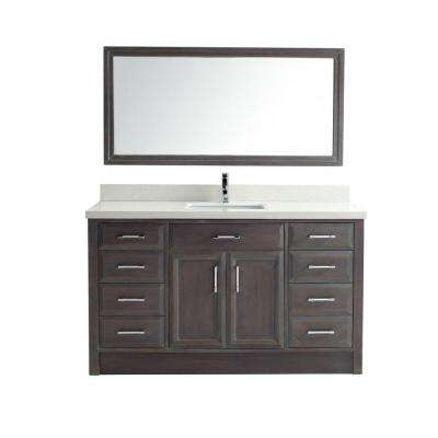 Calais 60 in. Vanity in French Gray with Solid Surface Marble Vanity Top in Carrara White and Mirror