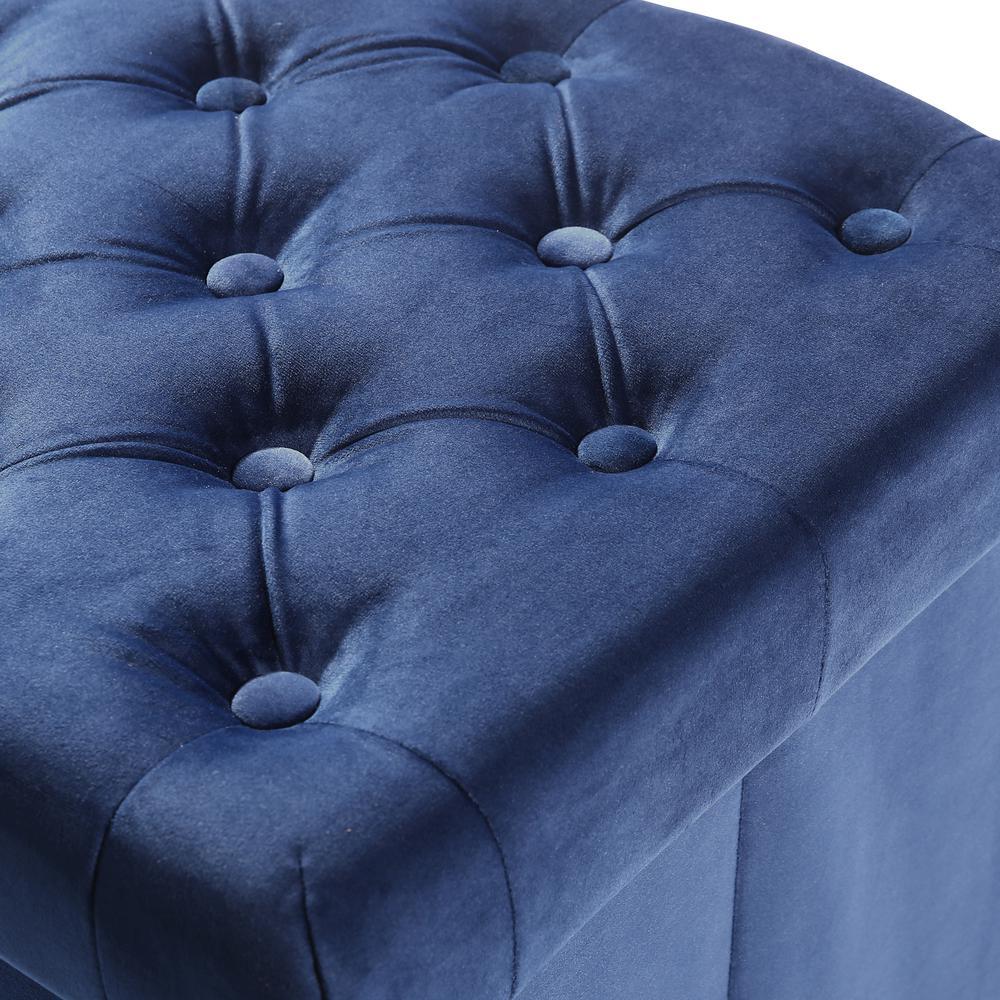 Fabulous Poly And Bark Lauren Velvet Blue Cube Storage Ottoman Hd 360 Ncnpc Chair Design For Home Ncnpcorg