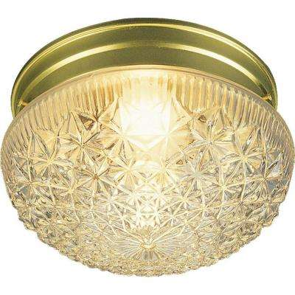 1-Light Polished Brass Flushmount