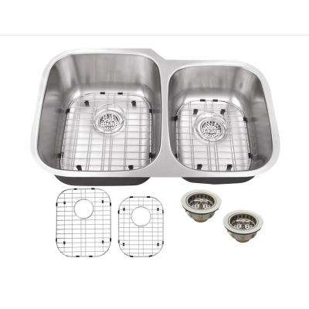 Undermount 16-Gauge Stainless Steel 32 in. 0-Hole 60/40 Double Bowl Kitchen Sink