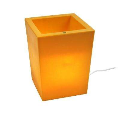 Twist Production 17 in. Yellow Outdoor Lighted Planter