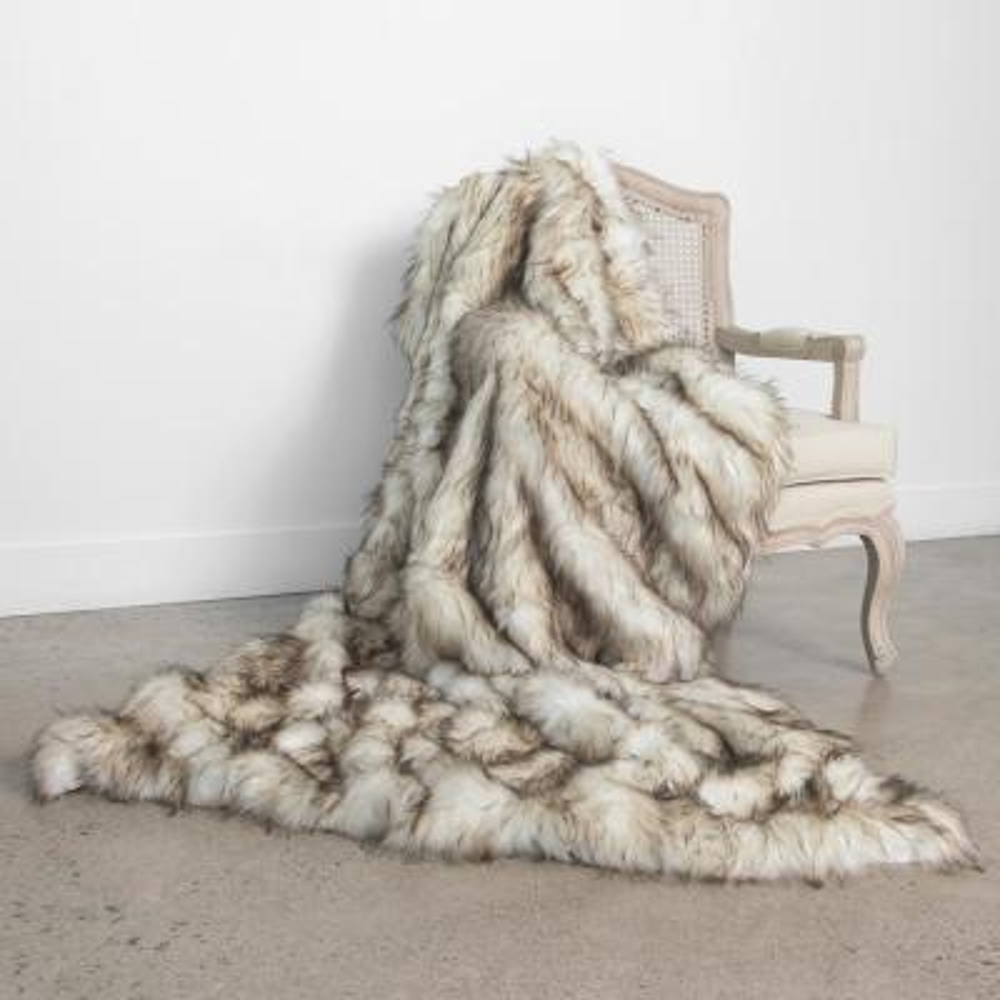 Bleached Finn Faux Fur Throw 58In. x 60In.
