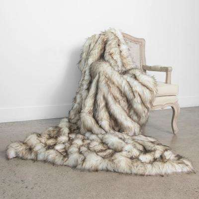 Wild Mannered 58 in. x 60 in. Bleached Finn Faux Fur Throw
