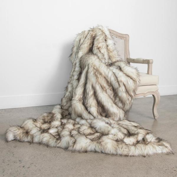 Bleached Finn Faux Fur Throw 58In. x 60In.