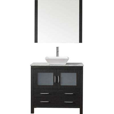 Dior 36 in. W x 18.3 in. D Vanity in Zebra Grey with Marble Vanity Top in Carrara White with White Basin and Mirror