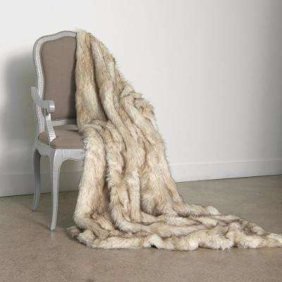 Wild Mannered 58 in. x 60 in. Champagne Fox Faux Fur Throw