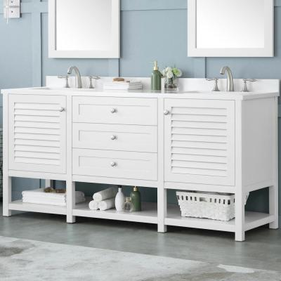 Grace 72 in. W x 22 in. D Bath Vanity in White with Cultured Marble Vanity Top in White with White Basins