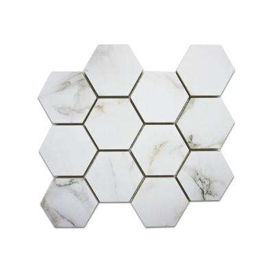 Impero Calacatta Premium HEX 11 in. x 12 in. x 9 mm Porcelain Mosaic Tile (0.65 sq. ft. / Each)