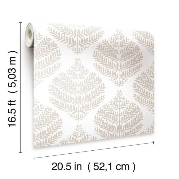 Roommates Hygge Fern Damask Taupe White Vinyl Peelable Roll Covers 28 18 Sq Ft Rmk11512wp The Home Depot