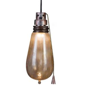 Hanging Attic Light with Rusted Look and Creepy Flickering Effect