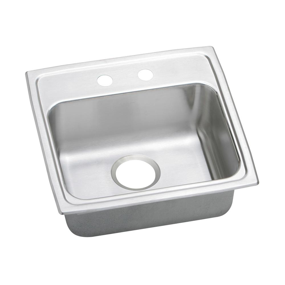 Elkay Lustertone Drop In Stainless Steel 20 In. 2 Hole Single Bowl Kitchen