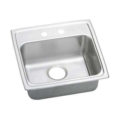Lustertone Drop-In Stainless Steel 20 in. 2-Hole Single Bowl Kitchen Sink