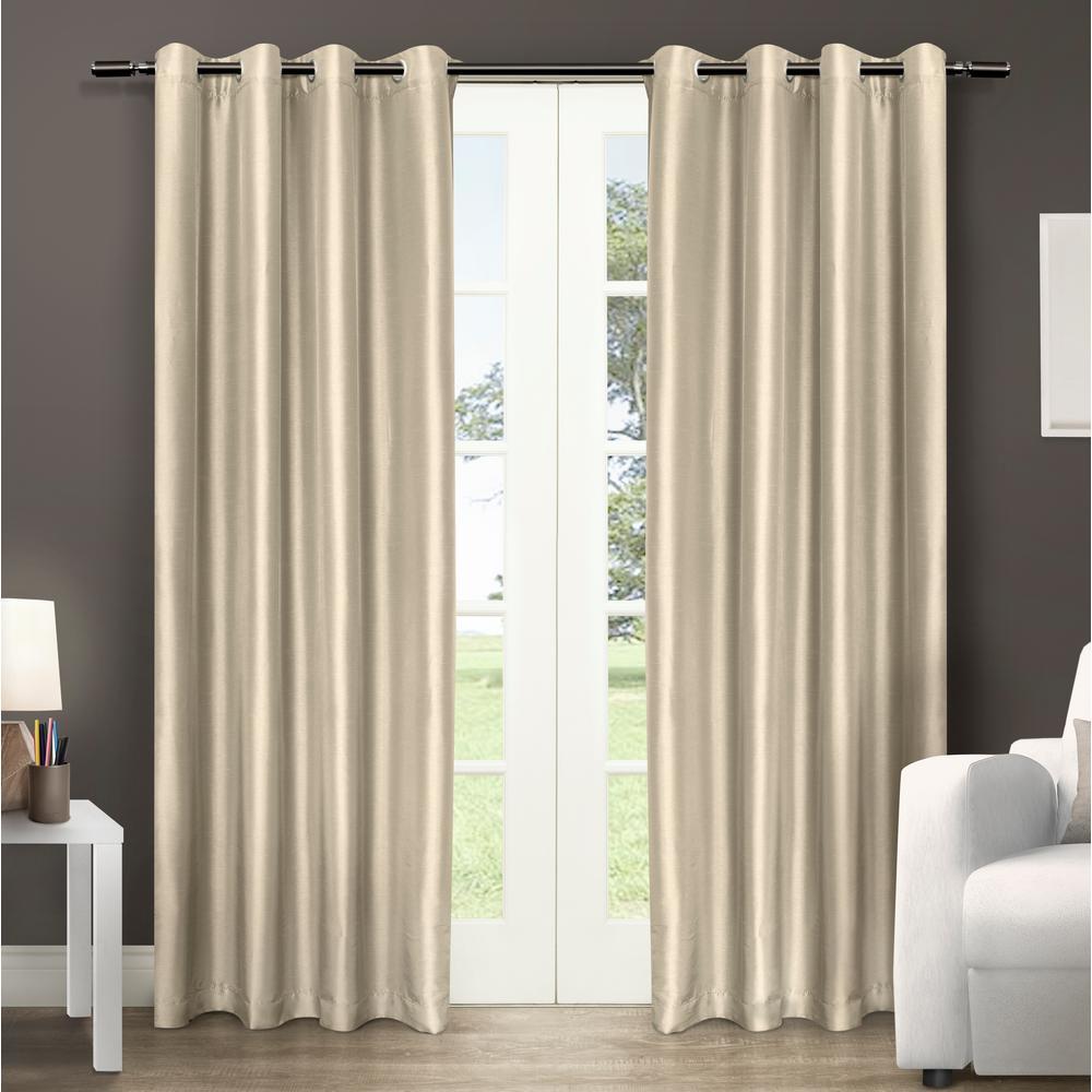 Chatra 54 in. W x 96 in. L Faux Silk Grommet Top Curtain Panel in Bone (2 Panels)