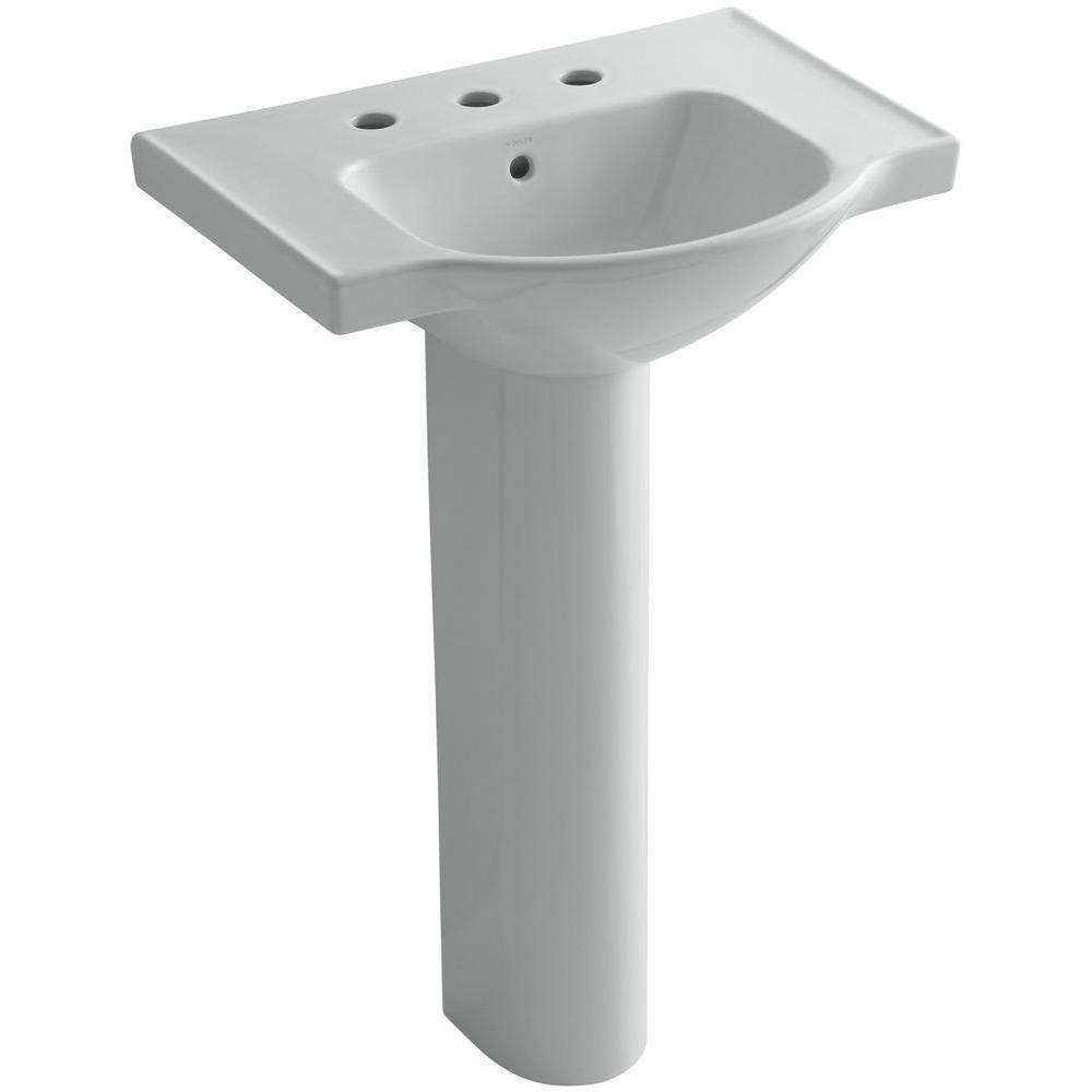 KOHLER Veer 24 in. Vitreous China Pedestal Combo Bathroom Sink in Ice Grey with Overflow Drain