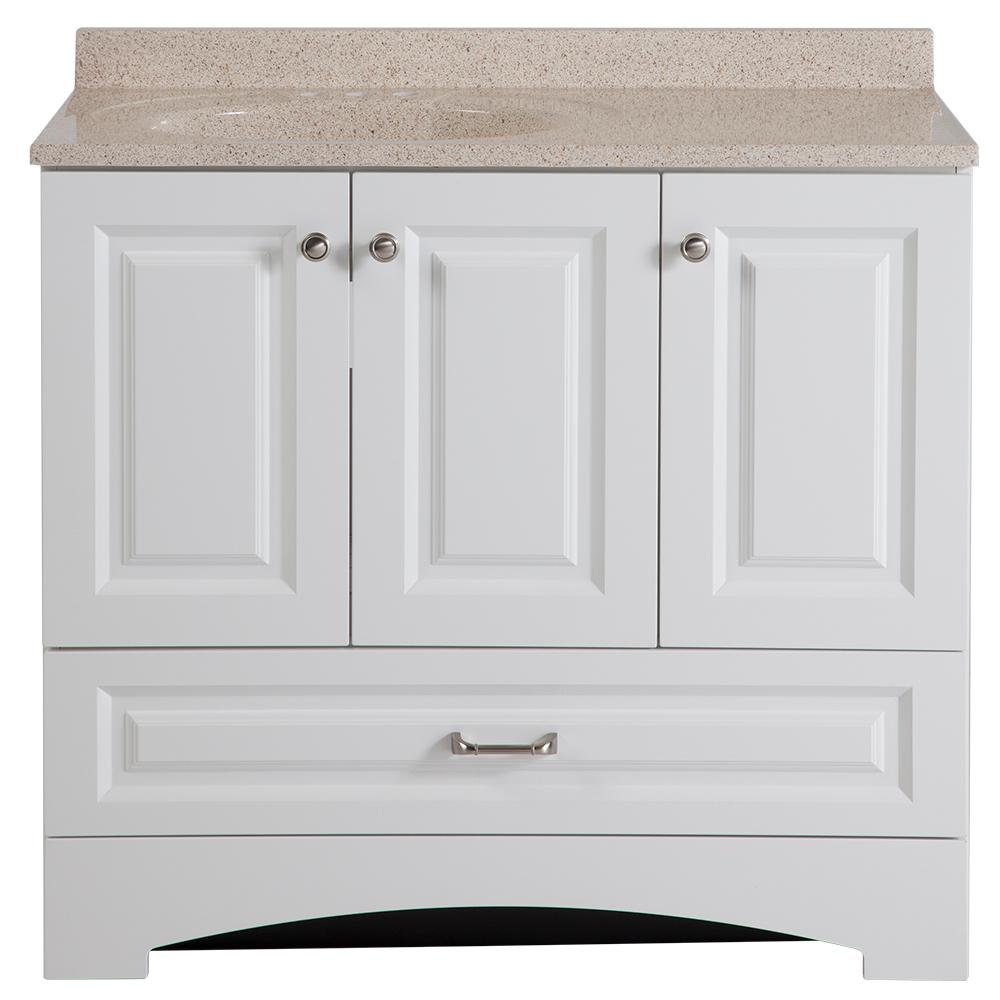 Glacier Bay Lancaster 36 in. W Vanity in White with Colorpoint Vanity Top in Maui