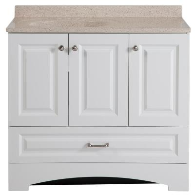 Lancaster 36 in. W Bath Vanity in White with Colorpoint Vanity Top in Maui