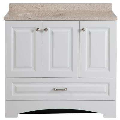 Lancaster 36 in. W Vanity in White with Colorpoint Vanity Top in Maui