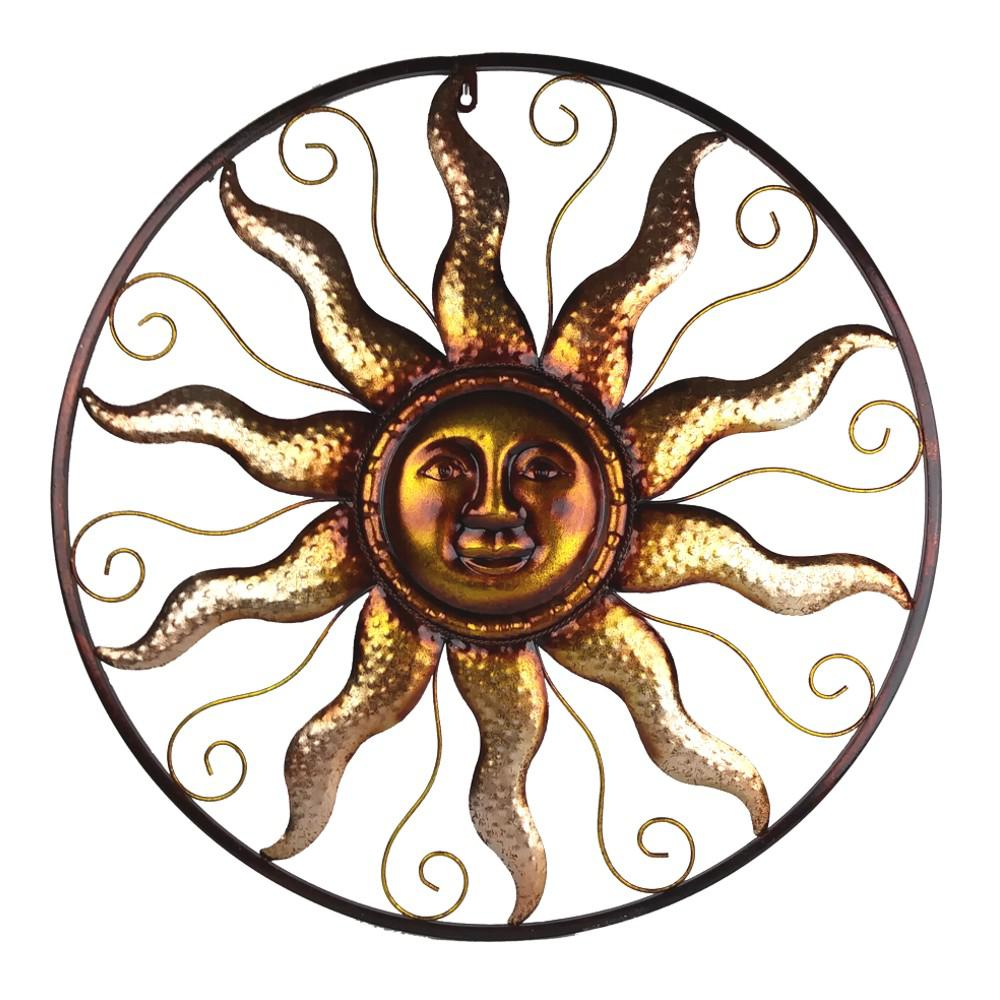 Sun Wall Art 25 In. Steel Bronze Sun Decorative Wall Art