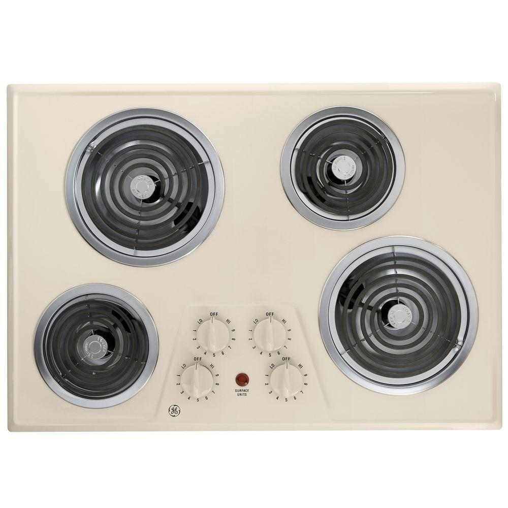 GE 30 in. Coil Electric Cooktop in Bisque with 4 Elements