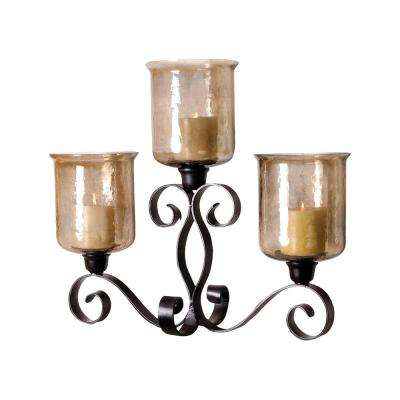 Cheyenne 24 in. x 29 in. Rustic and Hammered Brown Lustre Metal and Glass Candle Holder