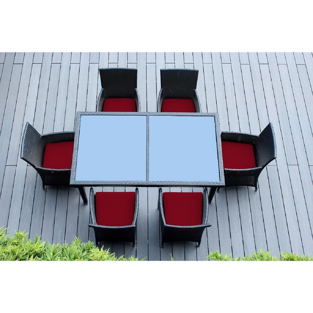 Black 7-Piece Wicker Patio Dining Set with Sunbrella Jockey Red Cushions