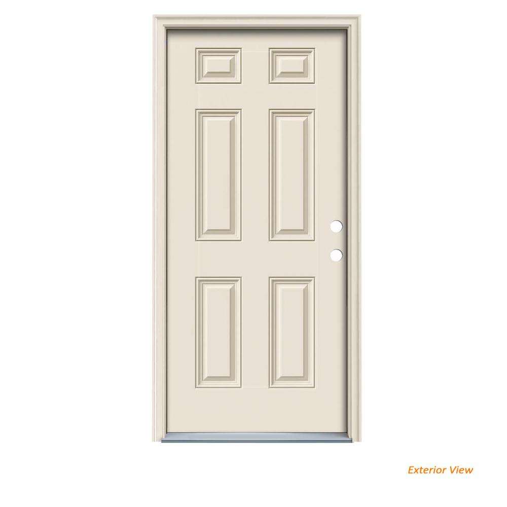 Jeld wen 36 in x 80 in 6 panel primed fiberglass prehung - Installing prehung exterior door on concrete ...