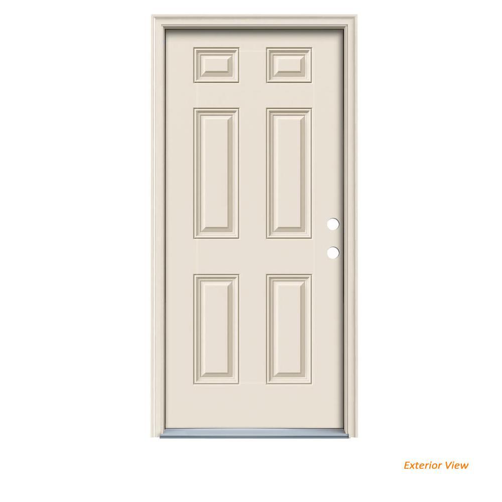 JELD-WEN 32 in. x 80 in. 6-Panel Primed Fiberglass Prehung Left-Hand Inswing Front Door w/Brickmould