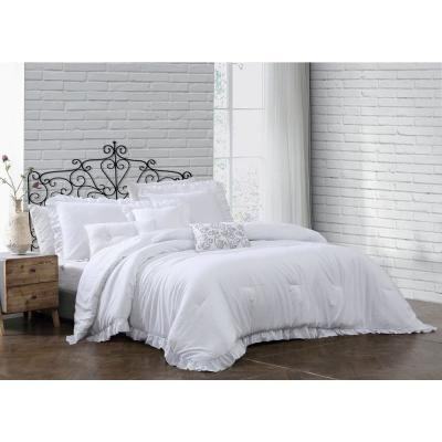Davina 6-Piece Solid White Enzyme Washed King Comforter Set with 3 Decorative Pillows