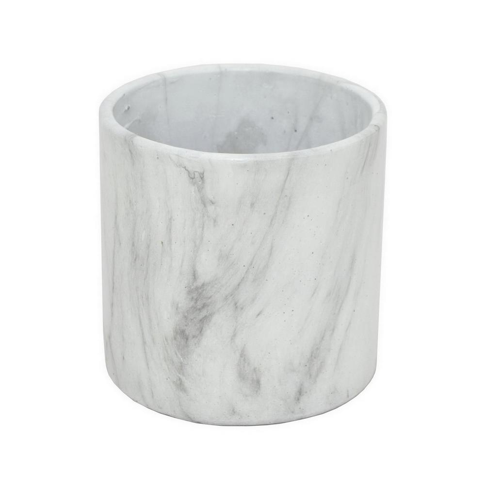 Three hands white marble look flower pot 13957 the home depot three hands white marble look flower pot mightylinksfo