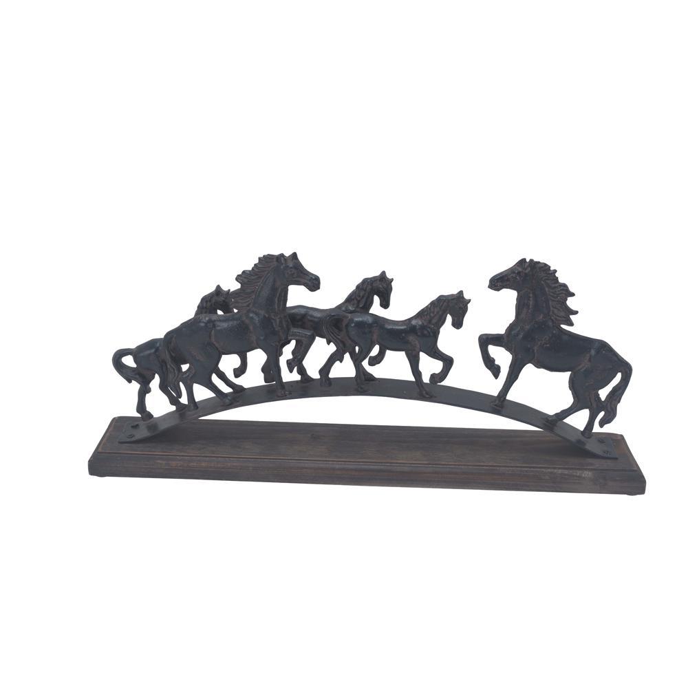 5-Running Horses Iron Sculpture