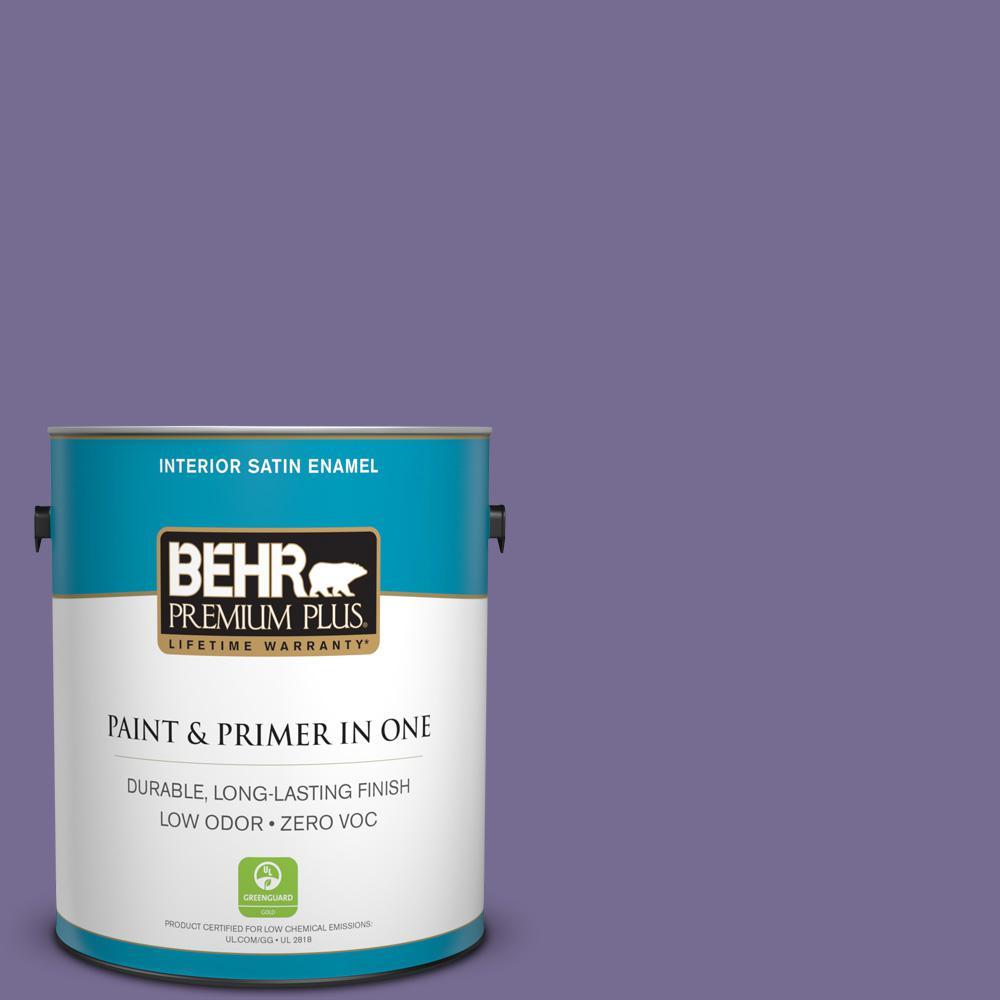 1-gal. #650D-6 Purple Silhouette Zero VOC Satin Enamel Interior Paint