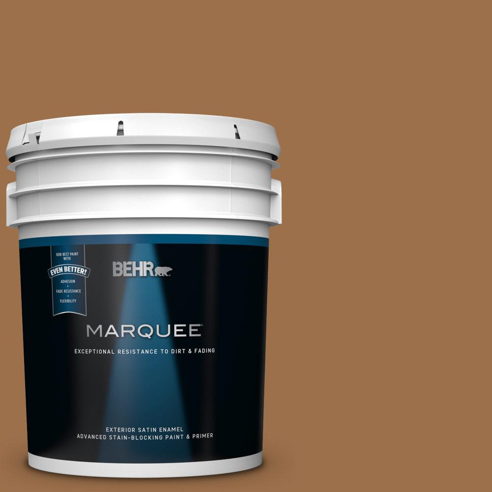 Behr Marquee 5 Gal Ppu4 17 Olympic Bronze Satin Enamel Exterior Paint And Primer In One 945305 The Home Depot