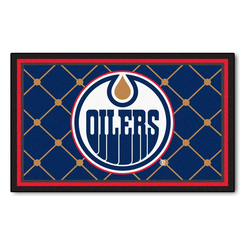 Fanmats edmonton oilers 4 ft x 6 ft area rug 10392 the home depot Home depot edmonton patio furniture