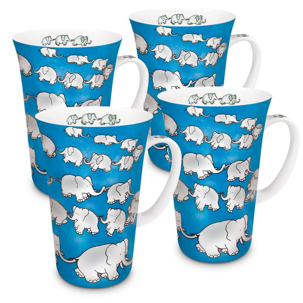 Konitz 4-Piece Chain of Elephants Blue Porcelain Mega Mug Set