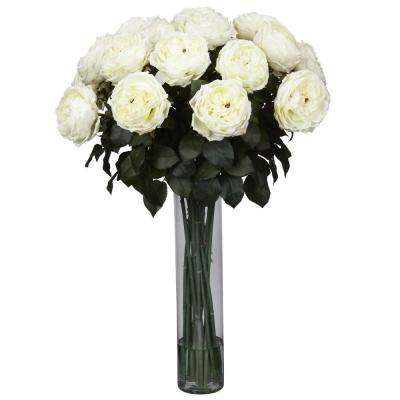 31 in. H White Fancy Rose Silk Flower Arrangement