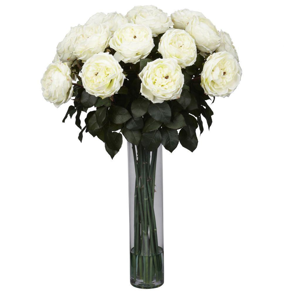31 in. H White Fancy Rose Silk Flower Arrangement