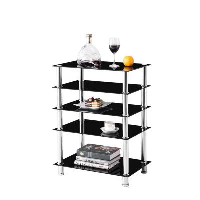 Black 5-Tier Multi-Functional TV Stand For Media Devices