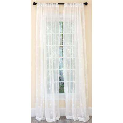 Falling Snowflake Embroidered Sheer Single Rod Pocket Curtain Panel in White - 54 in. x 96 in.