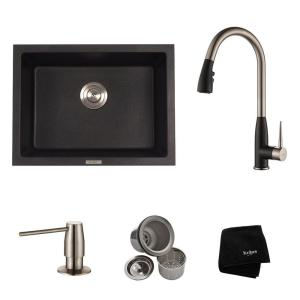 All In One Dual Mount Granite Composite 24 In. Single Basin Kitchen Sink