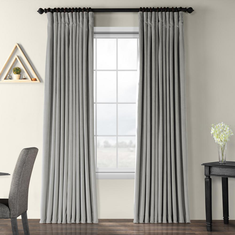 Exclusive Fabrics & Furnishings Blackout Signature Silver Grey Doublewide Blackout Velvet Curtain - 100 in. W x 96 in. L (1 Panel)