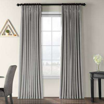 Blackout Signature Silver Grey Doublewide Blackout Velvet Curtain - 100 in. W x 96 in. L (1 Panel)