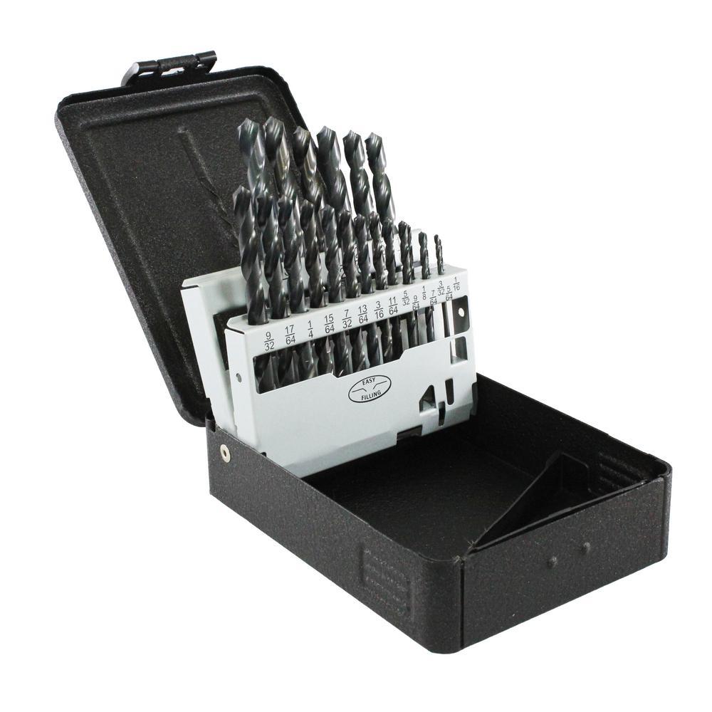 Black Oxide High Speed Steel Drill Bit Set (21-Piece)