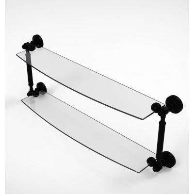 Waverly Place Collection 24 in. 2-Tiered Glass Shelf in Matte Black